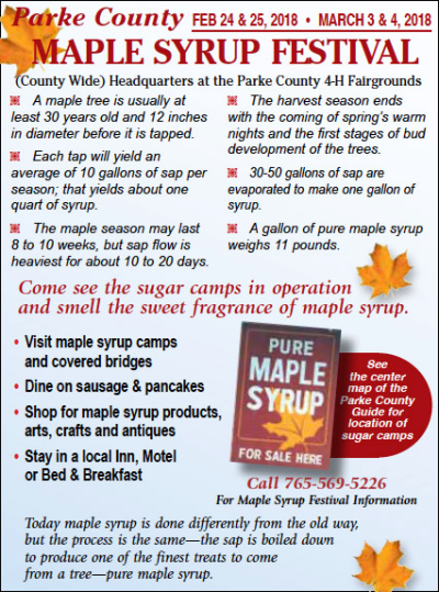 2018 Parke County Maple Syrup Festival — Advertisement