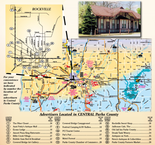 Central Indiana Map.Mansfield Village Parke County Covered Bridge Festival Visitors