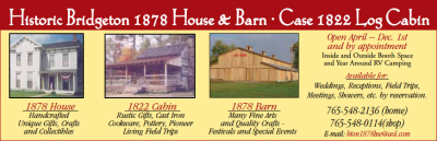 Historic Bridgeton 1898 House & Barn — Case 1822 Log Cabin — Advertisement