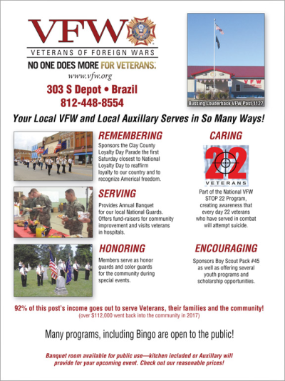 Advertisement: Bussing Louderback VFW Post 1127
