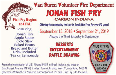 Advertisement: Carbon/Van Buren Volunteer Fire Department Fish Fry