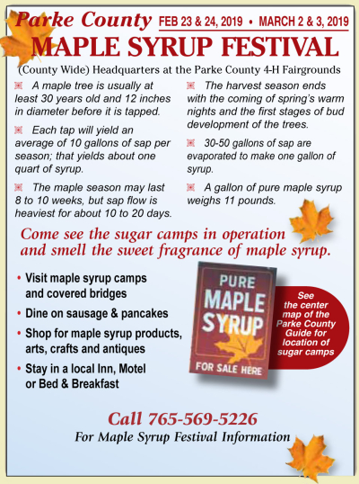 AD: Parke County Maple Syrup Festival