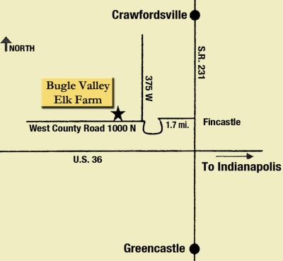 MAP: Bugle Valley Elk Farm West of Roachdale
